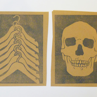 Free Postage - Cheap Seconds - Skeletons in your closet lino prints