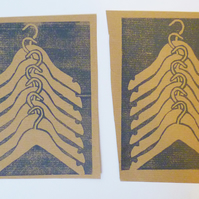 Free Postage - Cheap Seconds - Coathanger Pattern Lino Prints