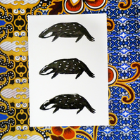 Free Postage - Lino Printed Badger Card
