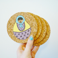 Free Postage - Set of Four Russian Doll Coasters