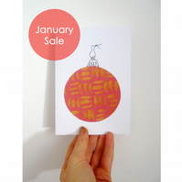 Sale - Free Postage - Collaged Bauble Christmas Cards