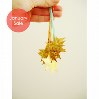 Sale - Free Postage - Mini Gold Leaf Star Decorations