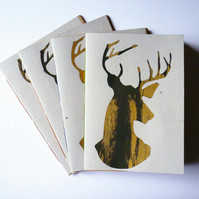 Free Postage - Screen Printed Stag Sketchbook or Notebooks