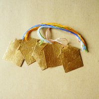 Free Postage  - Tiny Gold Leaf House Christmas Decoration