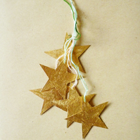 Free Postage  - Tiny Gold Leaf Star Christmas Decoration