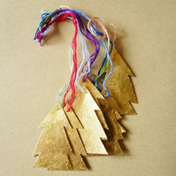 Free Postage  - Tiny Gold Leaf Tree Christmas Decoration