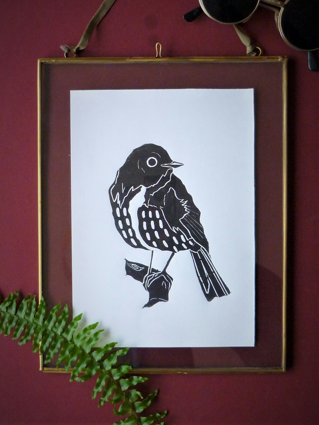 Original A5 Speckled bird lino print in black