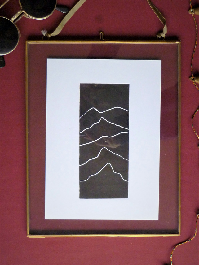 Original A5 Mountains landscape lino print in black