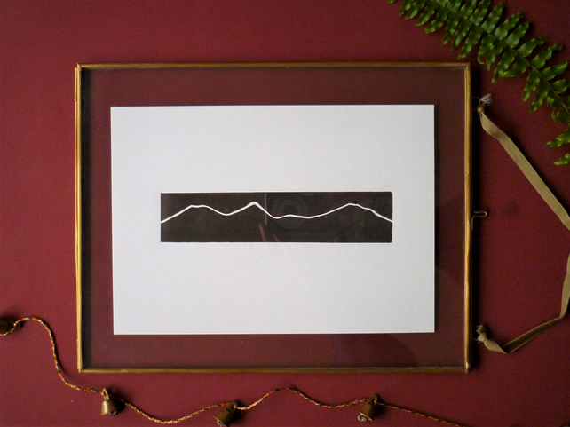 Original A5 Simple mountains landscape lino print in black