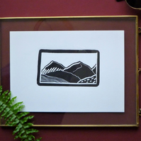 Original A5 Textured mountains landscape lino print in black