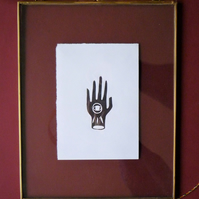 Original A6 Eye hand lino print in black