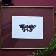 Original A6 Butterfly lino print in black