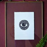 Original A6 Teardrops eye lino print in black