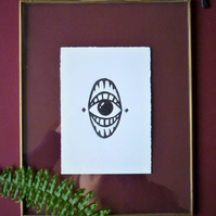 Original A6 Jaws eye lino print in black