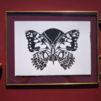 Original A5 Butterfly lino print in black