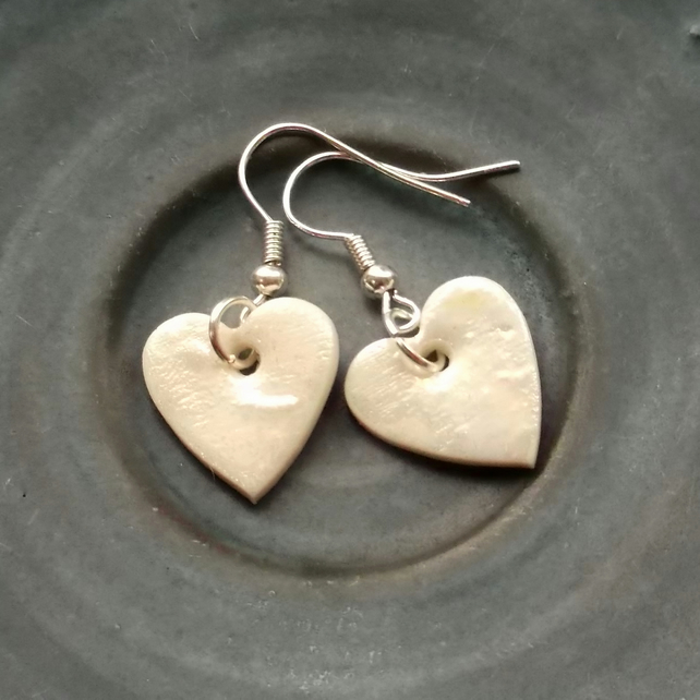 Handmade Dangle Earrings with Porcelain Pearly Hearts Jewellery Gift