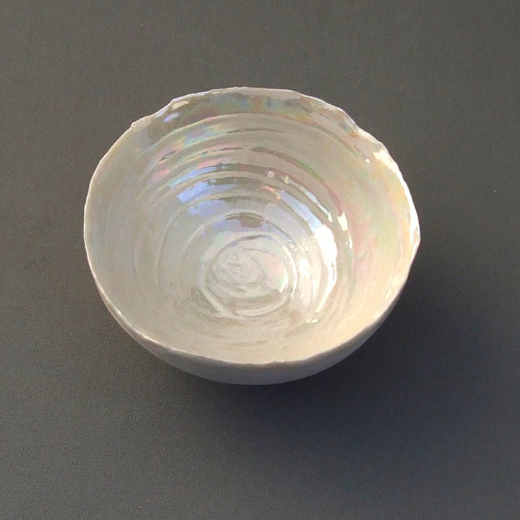 Porcelain Bowl - Pearl Wedding Anniversary Gift - 30th Wedding Gift - Ceramic