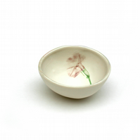 Small Porcelain Bowl with Flower - House Warming Gift - Birthday Gift for Her