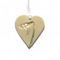 Snowdrop Ceramic Heart Decoration - Thank You Gift - Mothers Day Gift