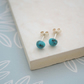 Turquoise Stud Earrings, Sterling Silver Blue Gemstone Ear Studs