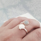 Aquamarine Shell Ring, Sterling Silver Sea Shell Ring