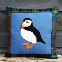Appliqued Puffin Cushion in Tweed, Tartan and Linen