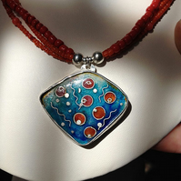 The Birth of Coral - enamelled silver and coral necklace.