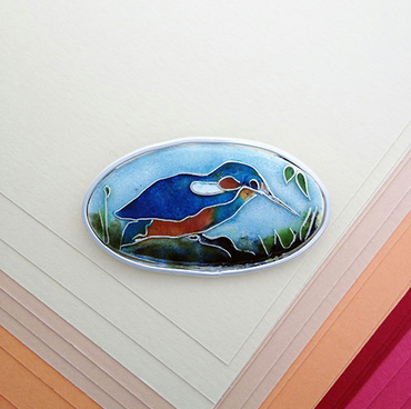 Kingfisher cloisonne enamelled silver brooch
