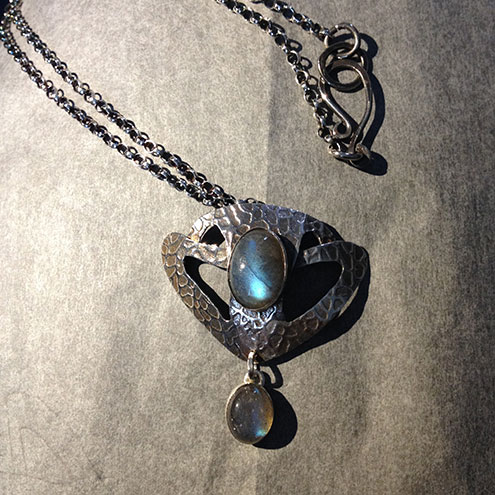 Silver and Blue Labradorite shield pendant