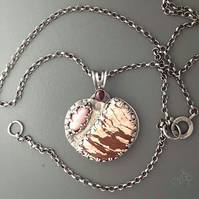 Pink heart-of-stone pendant