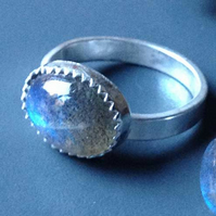 Norwegian Sky Blue Labradorite ring - sizes L, M or N