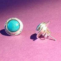 Silver and Turquoise large stud earrings