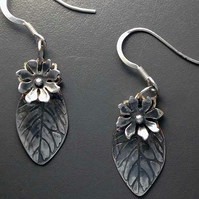 Silver leaf and flower earrings