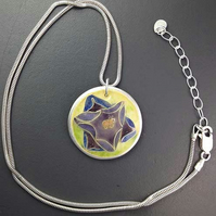 Crocus flower enamel and silver pendant