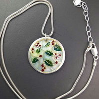 Cherry tree enamel and silver pendant