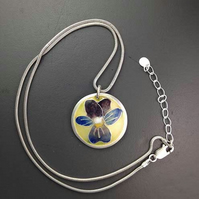 Heart's Ease enamel and silver pendant
