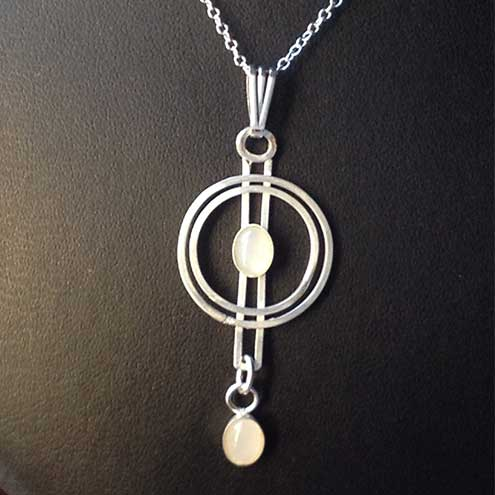 Moonstone and silver circles pendant