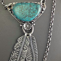 Kingman turquoise and silver feather necklace