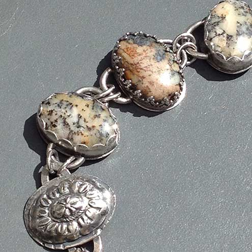 Silver and Dendritic Opal bracelet