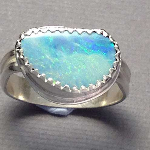 Opal and silver ring size L