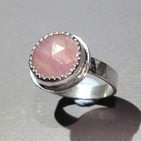 Round Pink Sapphire and silver ring size O