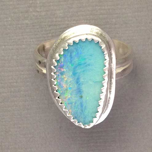 Opal and silver ring size M