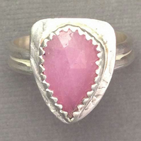 Pink Sapphire and Silver shield ring size O
