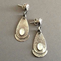 White Moonstone post earrings