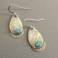 BlueGreen opal earrings