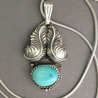American Turquoise Plume pendant -  Silver feather - December birthstone