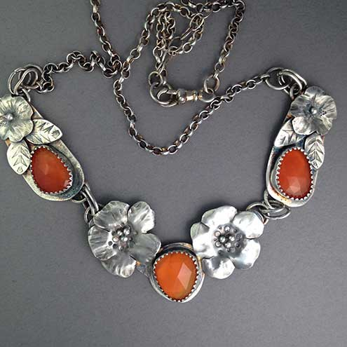 Carnelian and Silver Flower necklace - Handmade necklace - Silver necklace sold