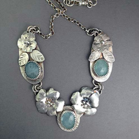 Aquamarine and Silver Flower necklace - Designer necklace - Handmade necklace