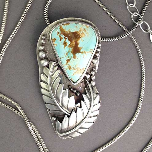 Kingman turquoise silver leaf pendant - Western style - American turquoise