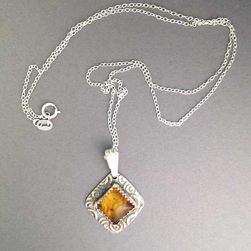Baltic Honey Amber pendant - layering necklace - Autumn colour